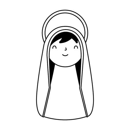 mignon, sainte marie, caractère, joyeux noël, vecteur, illustration