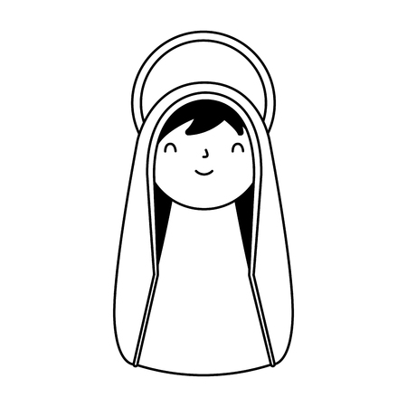 cute holy mary character merry christmas vector illustration