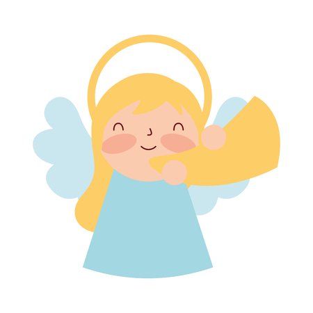 manger epiphany cute angel playing trumpet vector illustration