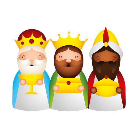 manger epiphany wise men with gifts vector illustration
