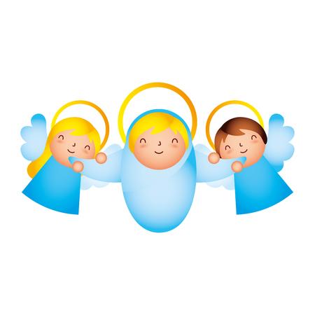 Krippe Epiphanie süße Engel mit Baby-Vektor-Illustration
