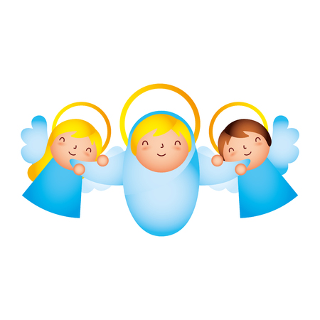 manger epiphany cute angels holding baby vector illustration