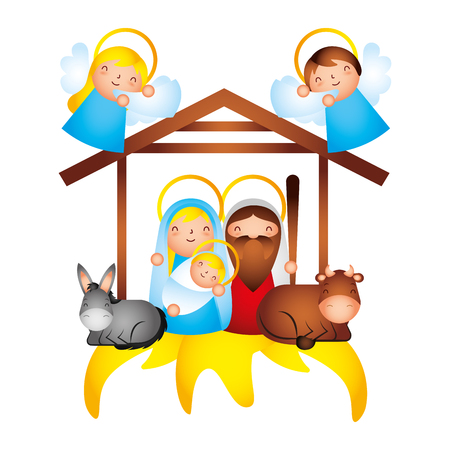 manger epiphany sacred family angels vector illustration Stock Illustratie