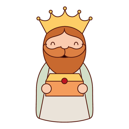manger epiphany character holding his gift vector illustration Banque d'images - 110831271