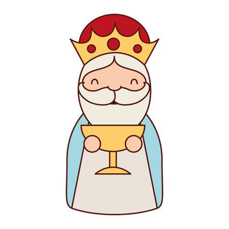 manger epiphany character holding gift gold vector illustration