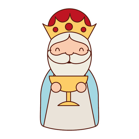 manger epiphany character holding gift gold vector illustration