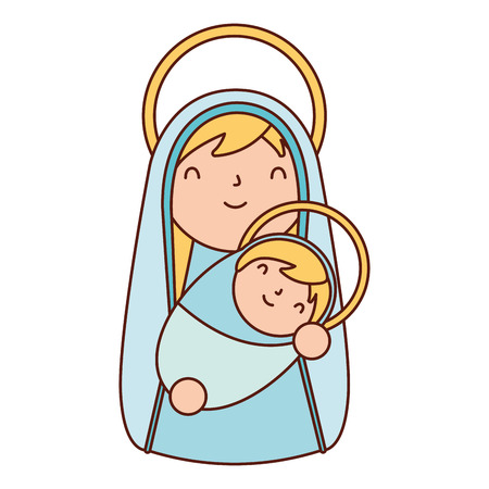 manger epiphany mary holding baby jesus vector illustration