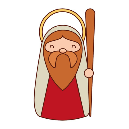 merry christmas joseph holding walking stick vector illustration