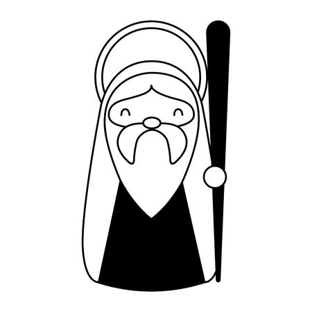 merry christmas joseph holding walking stick vector illustration