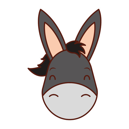 cute head donkey cartoon animal wild vector illustration