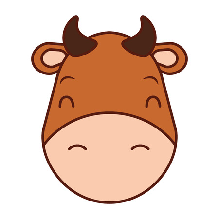 cute head cow cartoon animal wild vector illustration