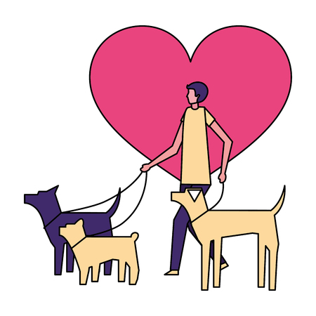 volunteers help love dog walker vector illustration
