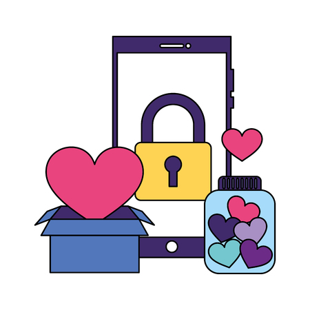 help smartphone padlock donation online charity vector illustration Illustration