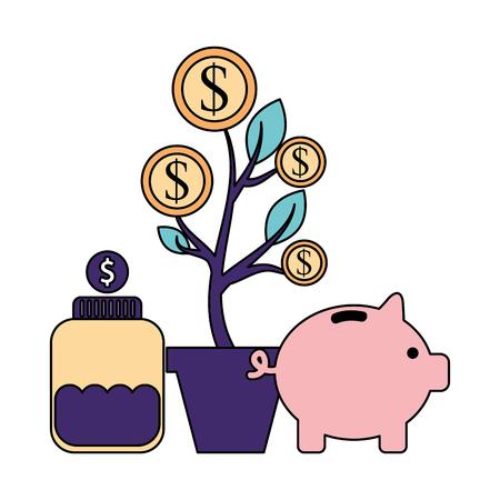 help piggy bank coins bottle donate vector illustration