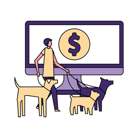 volunteers help computer donations online vector illustration Illustration