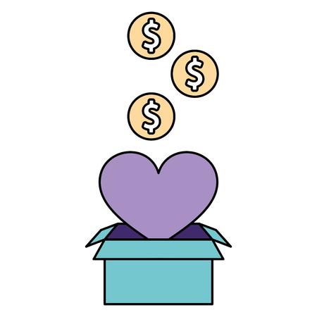 volunteers help box heart coins donate vector illustration Illustration