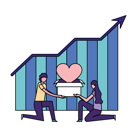 volunteers help couple holding box statistics vector illustration Illustration