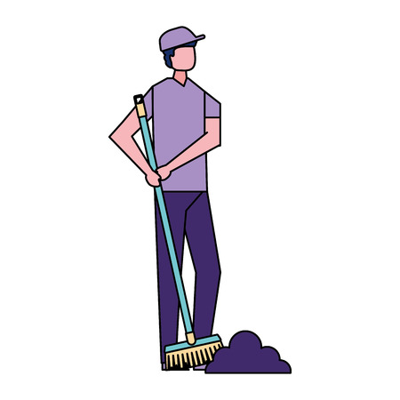 volunteers help man sweeping cleaning vector illustration