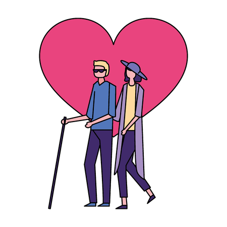 volunteers help love charity woman carry blind person vector illustration