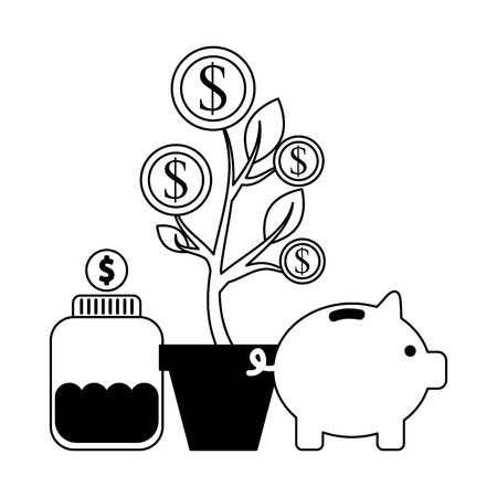 plant bottle coins piggy bank donations vector illustration