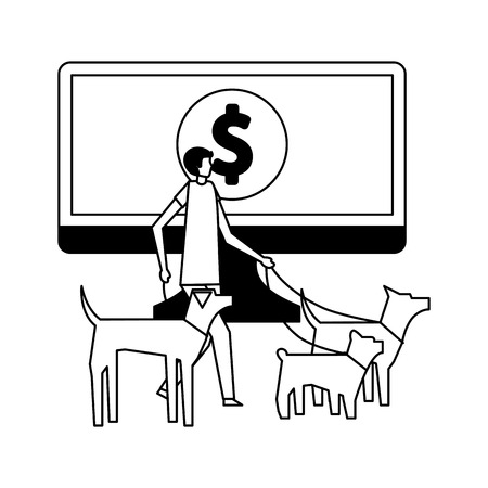 volunteers help dog walker online donation vector illustration