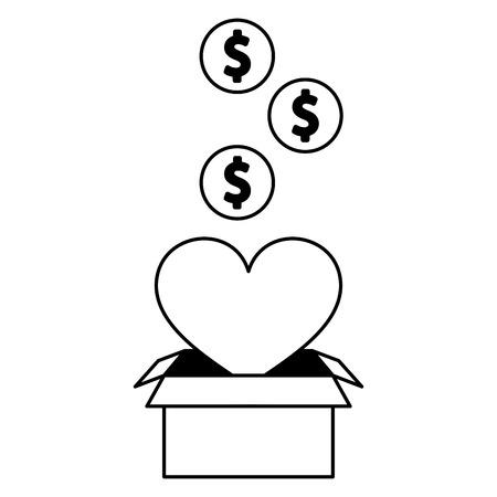 heart love box charity donate money vector illustration