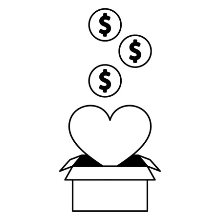 heart love box charity donate money vector illustration