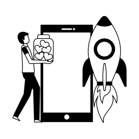 Les volontaires aident l'homme de fusée tenant l'illustration de vecteur de smartphone de coeurs de bouteille