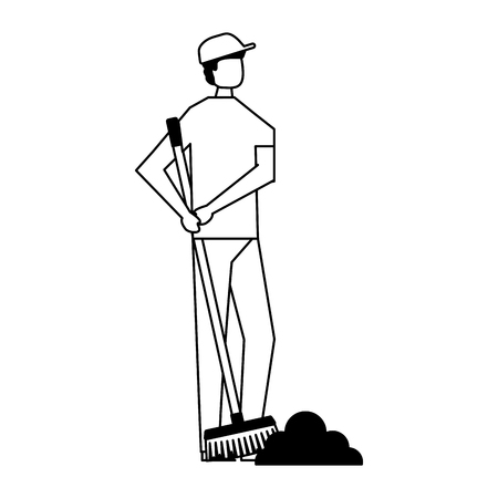 volunteers help man cleaning with broom vector illustration