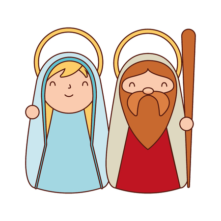 cute sacred family label merry christmas vector illustration Banque d'images - 110831179