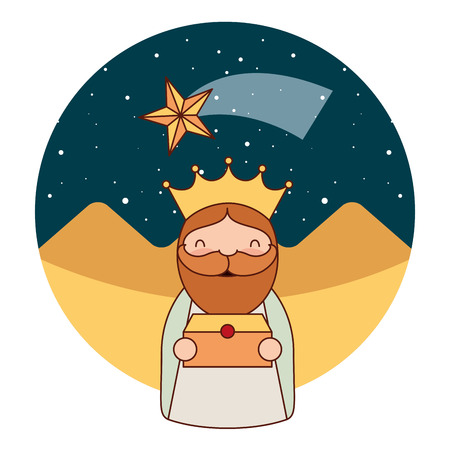 epiphany wise king holding gift desert star vector illustration