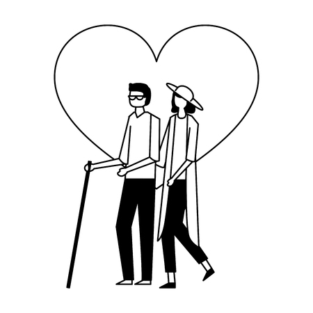 volunteers help heart love woman carry a blind person vector illustration Illustration