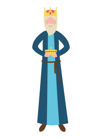 manger epiphany wise king holding gift vector illustration