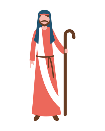 saint joseph character manger merry christmas vector illustration