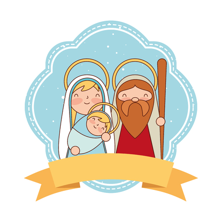 cute sacred family label merry christmas vector illustration
