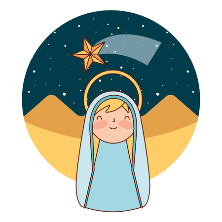 cute holy mary in the desert merry christmas vector illustration Banque d'images - 110830747