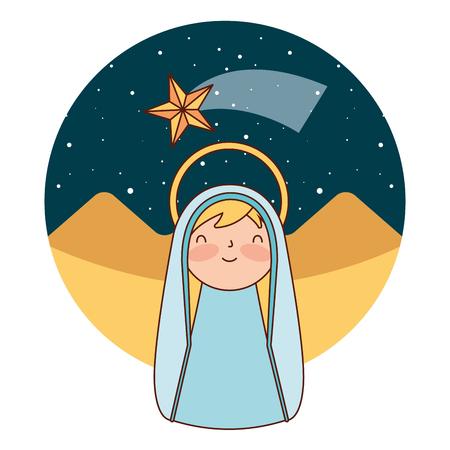 Linda santa maría en el desierto feliz navidad ilustración vectorial