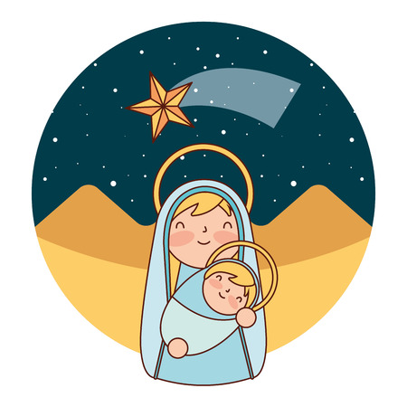cute holy mary and baby in the desert merry christmas vector illustration