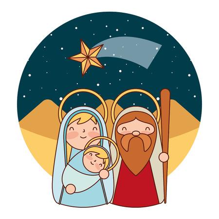 süße heilige familie in der wüste frohe weihnachten-vektorillustration