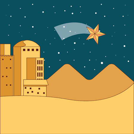 jerusalem desert dune night star vector illustration