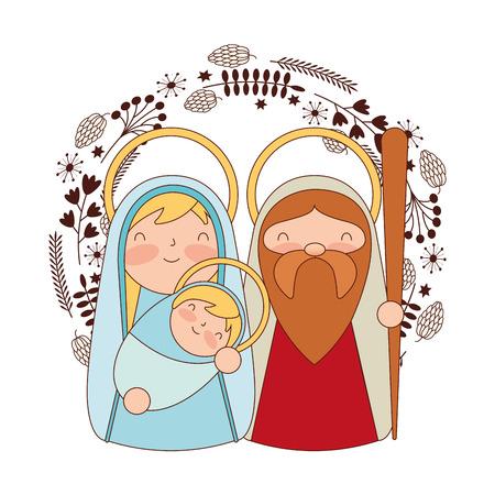 cute sacred family mary joseph and baby merry christmas vector illustration