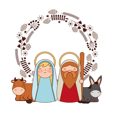 cute sacred family label merry christmas vector illustration Banque d'images - 110838414
