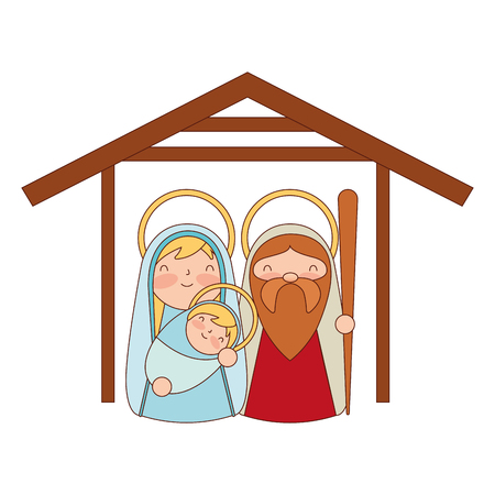 cute sacred family mary joseph and baby merry christmas vector illustration