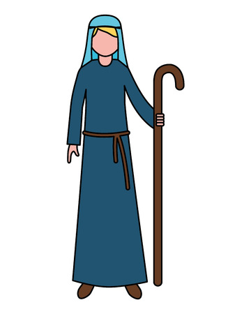 shepherd character with stick merry christmas vector illustration