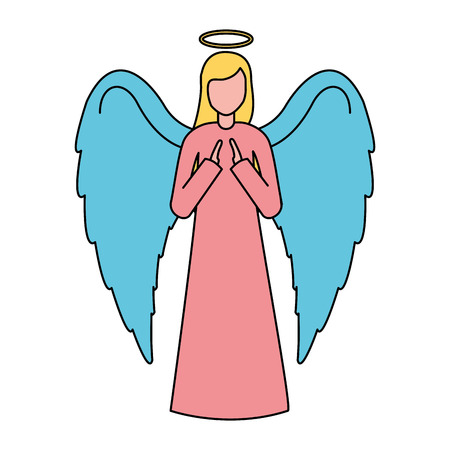 sacred angel character merry christmas vector illustration
