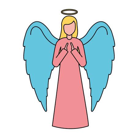 sacred angel character merry christmas vector illustration