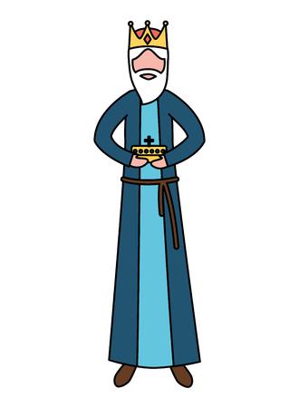 manger epiphany wise king holding gift vector illustration