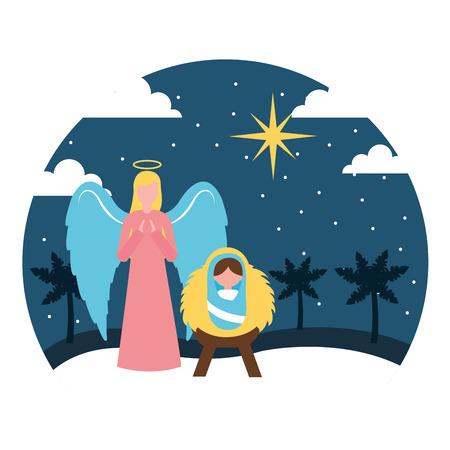 merry christmas angel baby jesus night star vector illustration Illustration