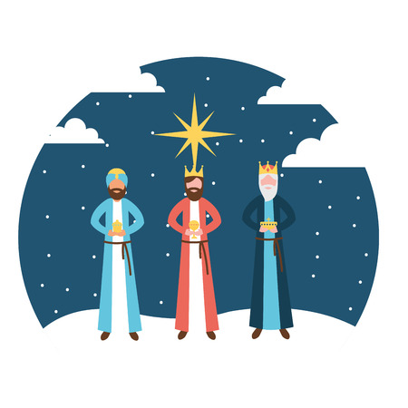 wise men king epiphany in the night vector illustration