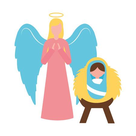 merry christmas angel baby jesus in crib vector illustration